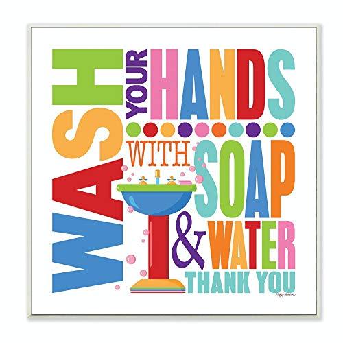 Stupell decoreren met water en zeep met badkamerplaket, 12 x 12 x 0,5, gemaakt in de VS