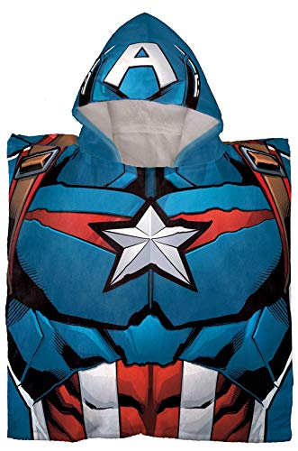 Jay Franco Marvel Avengers Capitán América - Poncho con capucha para baño/piscina/playa - Toalla de algodón supersuave y absorbente, medidas de 52 x 22 pulgadas (producto oficial de Marvel)