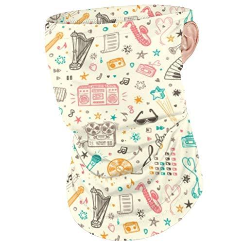 Green Haoke Bandana a Prueba de Polvo Sombreros Dibujados a Mano Doodle Instrumentos Musicales Polaina para El Cuello Oreja Loop Cara Sombrilla para Montar a Caballo Ciclismo Pesca