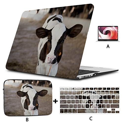 MacBook Pro Accessories Little Cow Standing Alone MacBook Cover 15 Inch Hard Shell Mac Air 11'/13' Pro 13'/15'/16' with Notebook Sleeve Bag for MacBook 2008-2020 Version