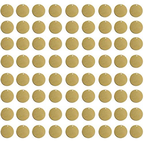 ABBECIAO 100PCS Round Brass Tags Stamping Numbered Hand Personalized Dog Pets ID Circle Blanks Equipment Labeling W/Hole (1/2 inch)