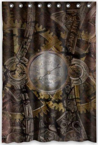 Dameilin 121,9 cm (L) x 182,9 cm (H) Abstraction Steampunk Mécanisme machine ingénierie Gear Thème Imprimé 100% polyester Rideau de douche de salle de bain douche Anneaux inclus