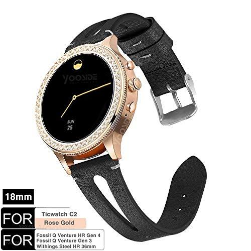 YOOSIDE für Fossil Q Venture Leder Armband,18mm Quick Release echtes Leder mit klassischem Verschluss-Uhrenarmband für Fossil Damen Venture, Withings Steel HR 36mm (Schwarz)