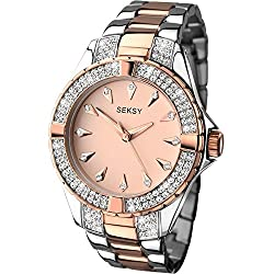 Two-tone plated case Rose coloured dial Two-tone stainless steel and rose gold plated bracelet Made with 132 swarovski crystals Includes a 2 year guarantee