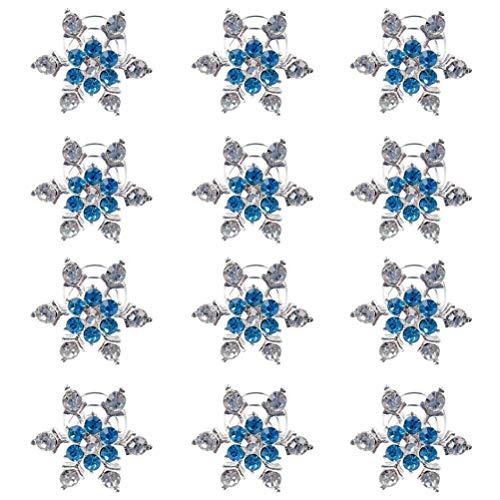12 Stück Haarnadel Schneeflocke Strass Spiral Clip Haar Twists Spulen Spiralen Haarnadel Clip Zubehör für Frauen und Mädchen für Hochzeit, Braut, Abschlussball, Party und besondere Anlässe