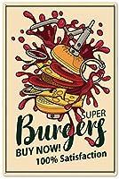 スーパービッグバーガーズ今すぐ購入メタルティンサイン、ビンテージプレートプラーク