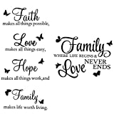 2 Sheets Vinyl Wall Decals, Faith Makes All Things Possible, Family Wall Decals Wall Stickers Quotes Inspirational Decals, Motivational Wall Quote Sayings Stickers Butterfly Wall Stickers Home Decors