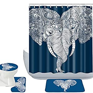 Amagical Elephants Pattern 16 Piece Bathroom Mat Set Shower Curtain Set Non Slip Bath Mat Contour Mat Toilet Cover Waterproof Fabric Shower Curtian 12 Hooks