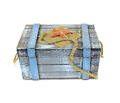 Puzzled Wooden Large Pacific with Orange Starfish Jewelry Box, Intricate & Meticulous Detailing Art Handcrafted Treasure Chest Trinket Accessory Storage Tabletop Accent Nautical Themed Home Décor