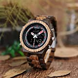 La luz de los hombres S reloj de acero inoxidable corona hebilla doble pantalla relojes de madera masculina alarma reloj hombre chfyg