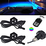 NBWDY RGB LED Boat Drain Plug Underwater Light, 9W/12V, 50000hr Lifespan ,Garber-Fishing, Swimming, Diving, 1/2' NPT with 4key RF Remote Controller(Pack of 2)