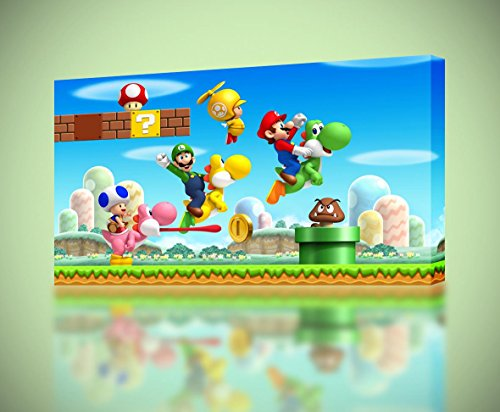 Super Mario Smash Bros Luigi Yoshi Canvas Print Home Wall Decor Giclee Art CA593, Large