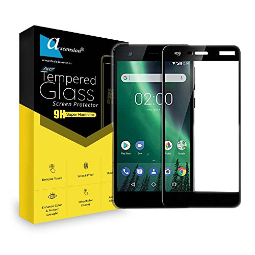 Ascension ® for Nokia 2 Border Tempered Gorilla Screen Protector High Premium Quality 9h Hard 2.5D Ultra Clear (Black) (Set of 1)