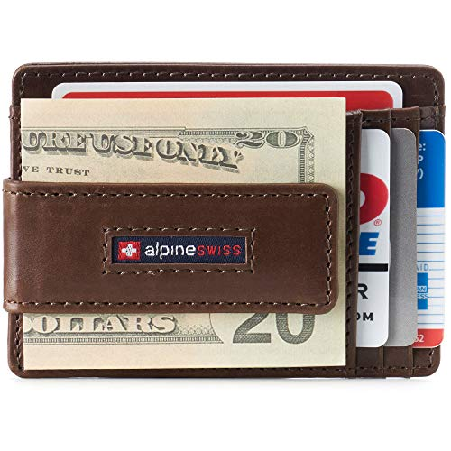 Alpine Swiss Harper Mens RFID Slim Front Pocket Wallet Magnetic Money Clip ID Card Holder Leather Brown