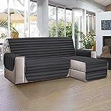 Aplus1 Funda para sofá chaise longue a la derecha – Izquierda. Tela acolchada y antimanchas. Protección contra el polvo, las manchas, el pelo de perros y gatos (gris, 3 plazas 240 cm) (3 plazas 94 in)