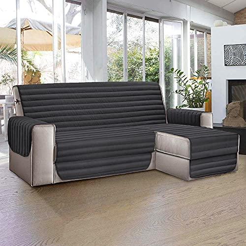 Aplus1 Funda para sofá chaise longue a la derecha – izquierda, tela acolchada y antimanchas, protección contra polvo, manchas, pelos de perros y gatos (gris, 4 plazas 290 cm) (4 plazas 114 in)