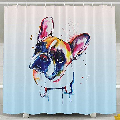 Cortina de baño bestsc Cute Funny Watercolor Bulldog Francés–Cortinas de ducha impermeable tejido de poliéster Baño decoración Set con ganchos–60