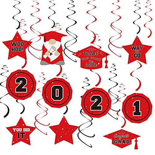 Dazonge 36ct Graduation Decorations 2021 Red and Black, Assembled Class of 2021 Hanging Swirl for Graduation Party Supplies, Graduation Swirl Decor for Indoor & Outdoor Use
