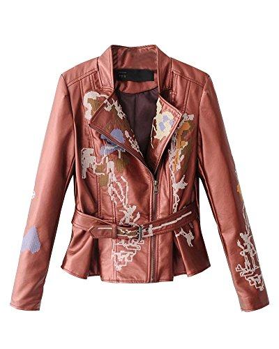 DianShao Damen Revers Pu Lederjacke Leather Jacket Mantel Kurz Bikerjacke Mit Stickerei Outwear Weinrot XL