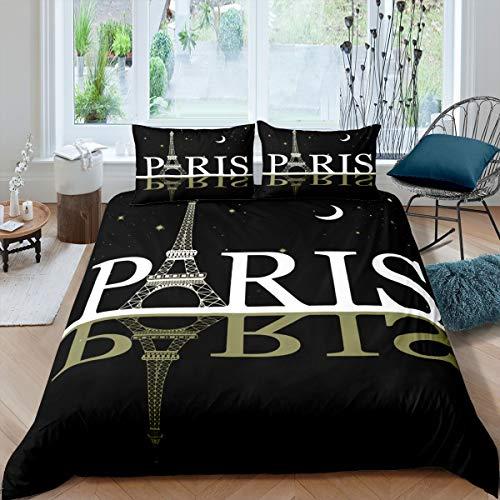 Bettwäsche-Set mit Eiffelturm-Motiv, Bettbezug für Kinder, Teenager, Paris, Stadtbild, bedruckt, modern, französischer Stil, Tagesdecke, Stern, Mond, Schlafzimmer, Dekoration, 2 Stück