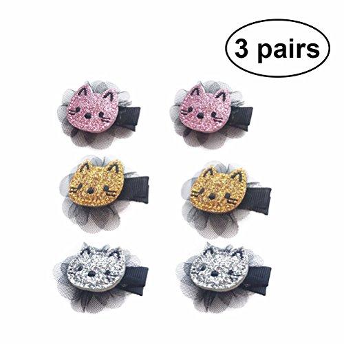 6 STÜCKE Entzückende Katze Haarspange Glitzer Haarnadel Haarspange für Baby Mädchen Kinder (Rosa + Silber + Gold 2 stücke Jeder)