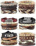 Milacolato 26Pcs Woven Braided Leather Bracelet for Men Women Hemp Cords Wood Beads Cuff Bracelets Adjustable Black White