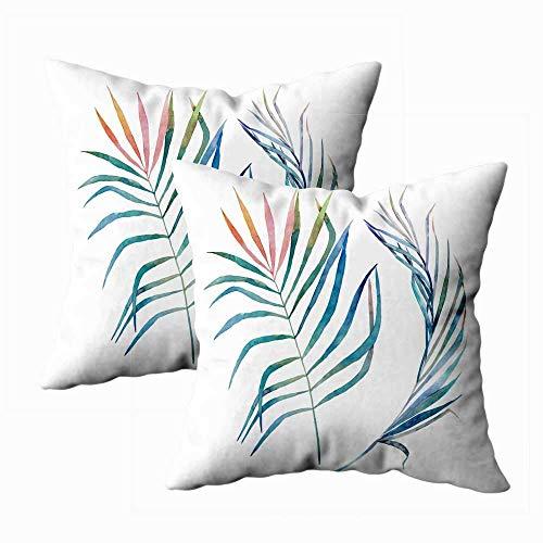 Juego de 2 fundas de almohada para exteriores, 45,7 x 45,7 cm, diseño de hojas tropicales, fondo blanco, decoración del hogar, fundas de almohada con cremallera para sofá