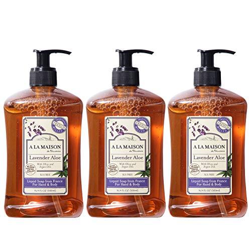 A La Maison de Provence Liquid Hand Soap   Lavender Aloe Scent   French Milled Moisturizing Natural Hand Soap   in 16.9 oz. Pump Bottles   (3 Pack)