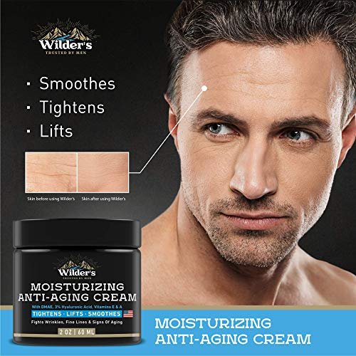 51ppahltK5L - Men's Anti Aging Face Cream Moisturizer - Premium Skin Care for Men with Collagen, Retinol, Hyaluronic Acid - Made in USA - Fast Anti-Age Effect Day & Night - Wrinkle Free Facial Men Moisturizer 2Oz