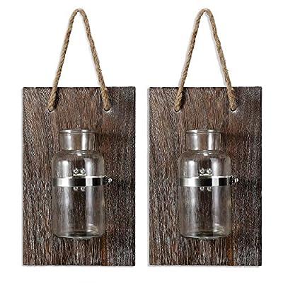 DOCMON Farmhouse Decor-Rustic Mason Jar Vase, R...