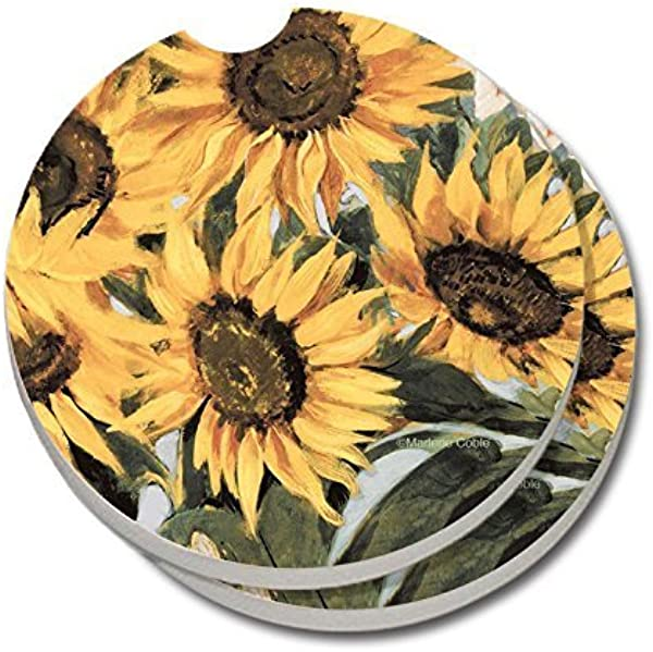 CounterArt Absorbent Stoneware Car Coasters Sunflowers Set Of 2