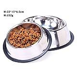 MOSTO 犬 猫 ボウル 食器 ペット用品 ステンレス製 ご飯入れ 食事台 餌やり 水やり 滑り止め 洗いやすい 給水 給餌 容器 (M)