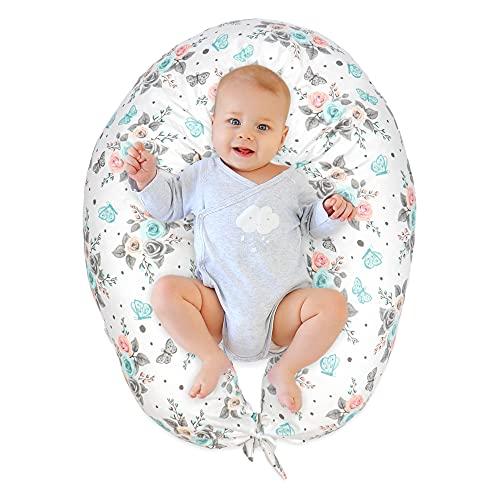 Almohada Embarazada y Cojin Lactancia - Cojín Embarazo Maternidad Dormir y Cojines Nido Bebe Grande (Rosas y Mariposas, Grande (165 x 70 cm))
