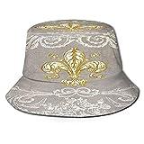 Yoliveya Sombrero de Pesca,Cortinas de Ducha costosas Fleur De lis,Senderismo para Hombres y Mujeres al Aire Libre Sombrero de Cubo Sombrero para el Sol