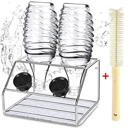 YAOMAISI Edelstahl Abtropfständer, Zweiteiliger Abtropfhalter, kompatibel mit sodastream Crystal,aus Edelstahl 304,Abtropfständer mit Flaschen waschbürste und Drain-Pad