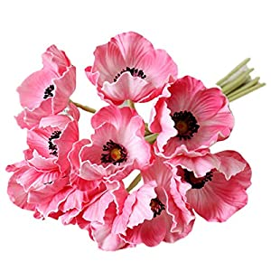 LebriTamFa 10 Stems Artificial Poppies Real Touch PU Fake Latex Flowers for Wedding Holiday Bridal Bouquet Home Party Decor (Pink)