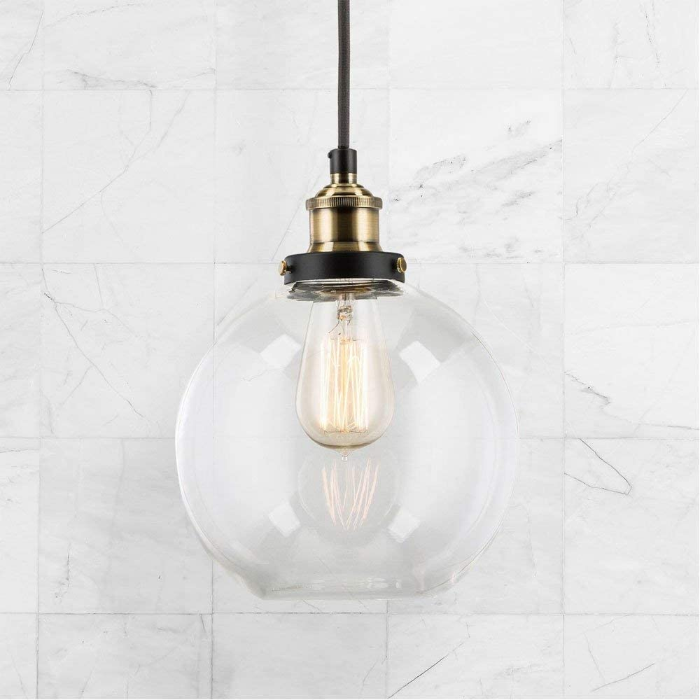 Frideko Vintage Industrial Ball Glass Lampshade Ceiling Pendant Light for Home Office Bedroom Coffee Shop (ø30CM) … Clear Glass