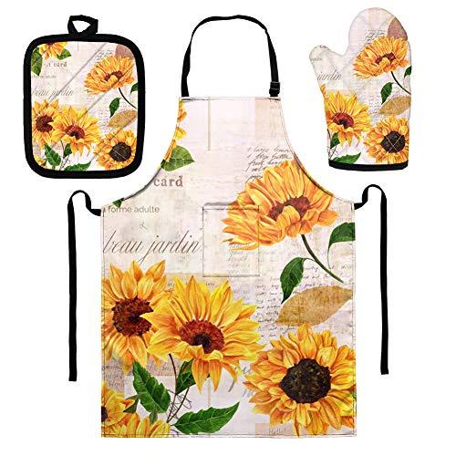 UOIMAG Küchenschürze, Sonnenblumen-Ofenhandschuh, Isolierkissen, 3-teiliges Set für Männer und Frauen