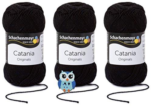 Schachenmayr Catania Wolle 3x50 Gr, 100% Baumwolle + 1 Eulen Knopf (Farbreihe 100-199) (110 Schwarz)