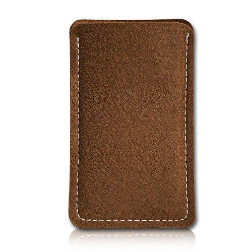 sw-mobile-shop Filz Style Wiko Riff Premium Filz Handy Tasche Hülle Etui passgenau für Wiko Riff - Farbe Hellbraun
