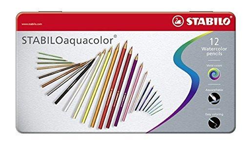 Lápiz de color acuarelable STABILO aquacolor - Estuche de metal con 12 colores
