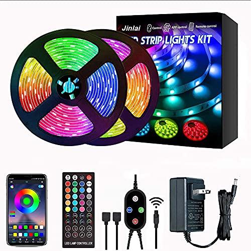 Jinlai Tira de luces LED de 10 m, RGB5050 Bluetooth para sincronización de música que cambia de color, con mando a distancia de 40...