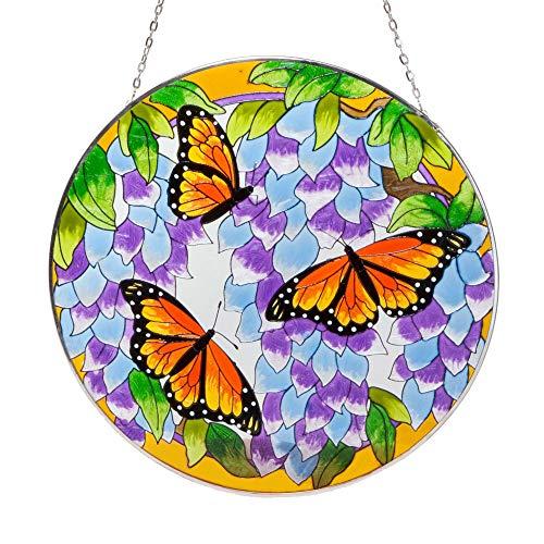 Bits and Pieces - Monarchfalter Schmetterling Sonnenfänger - Handbemaltes Kunstglas - Fenster oder Terrassendeko - 25cm Durchmesser - Glasbild, Fensterbild