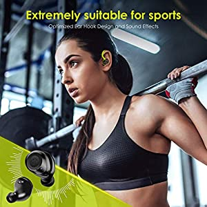 HolyHigh Wireless Earbuds, Wireless Sports Headphones Waterproof IPX7 Bluetooth 5.0 36H Enhanced Playtime Auto On/Off/Pairing Bluetooth Earphones Over Ear Hi-Fi Stereo for Gym Fitness