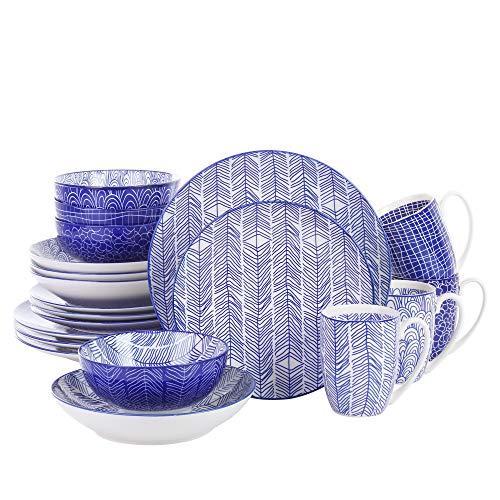 Vancasso, Takaki Porzellan Tafelservice, 20-teilig Geschirr Set für 4 Personen, Beinhaltet Becher, Schalen, Dessertteller, Speiseteller und Suppenteller