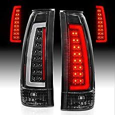 AmeriLite for 1988-1999 Chevy GMC C/K Silverado Suburban SUV C-Type LED Tube Black Replacement Tail Lights Set - Passenger and Driver Side