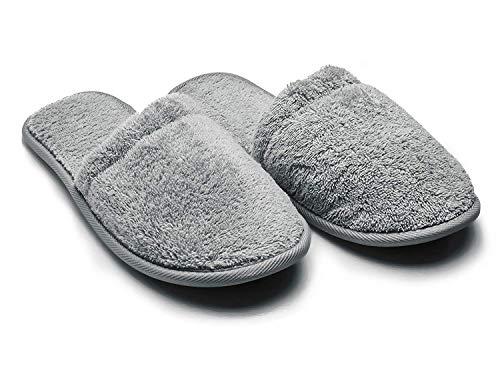 Arus Badepantoletten, 1 Paar, Schuhgröße 38-42, Gäste-Pantoffeln, Duschschlappen, Badelatschen, Frottee-Slipper, Farbe: Grau SL-GR-1