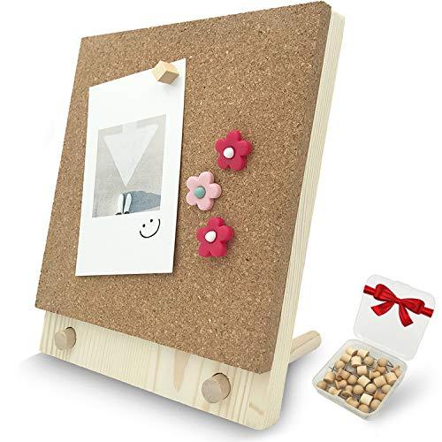 Desktop Cork Board, 10'' x 8'' Bulletin Board Message Board with 30 PCS Push Pins, Decorative Pin Board Perfect for Home School Office Decor