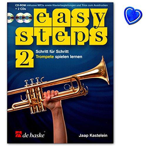 Easy Steps Band 2 voor trompet - trompetschool van Jaap Kastelein - leerboek met 2 cd's, CD-ROM en bonte hartvormige muziekklem - 9789043152204