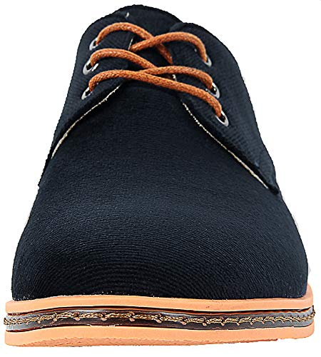 4How Mens' Casual Oxford Corduroy Shoes Lace Up Footwear Deep Blue US 10.5